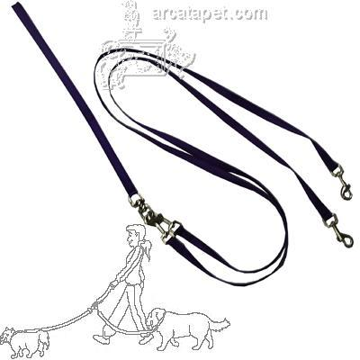 Pet Walker-Plus Nylon Leash 2-Dog Purple Small