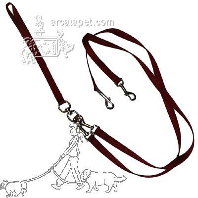 Pet Walker-Plus Nylon Leash 2-Dog Red Medium
