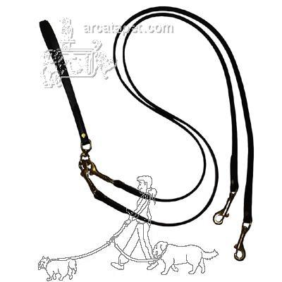 Pet Walker-Plus Black Leather 2-Dog Leash Small