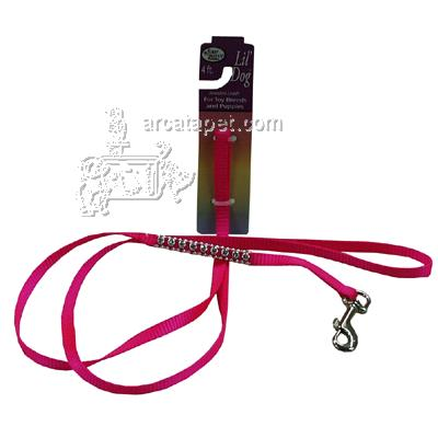 Nylon Jeweled Lil' Dog (and Cat) Pink Leash 4 foot