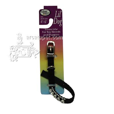 Nylon Lil' Dog Jeweled Dog Collar Black Small