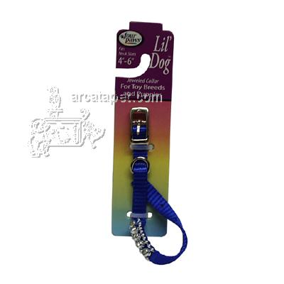 Nylon Lil' Dog Jeweled Dog Collar Blue Small