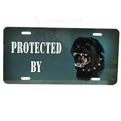 Aluminum Dog License Plate with Protected by Rottweiller