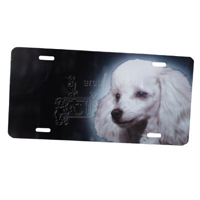Aluminum Dog Breed License Plate with Poodle