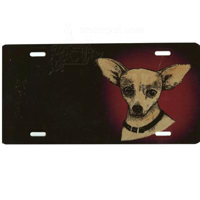 Aluminum Dog Breed License Plate with Chihuahua