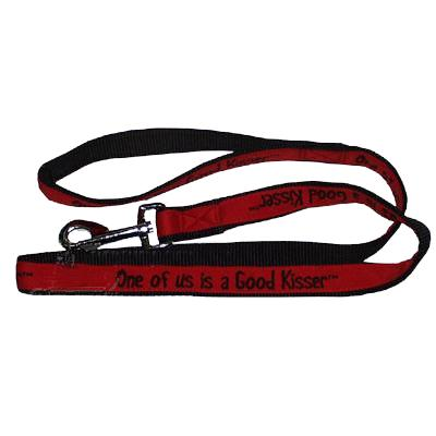 Embroidered Dog Leash 4-ft x1-in One of us is a Good Kisser