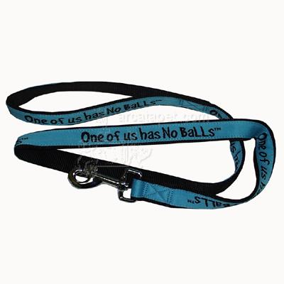 Embroidered Dog Leash 6-ftx1-in One of us has No Balls