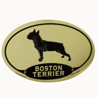 Euro Style Oval Dog Decal Boston Terrier