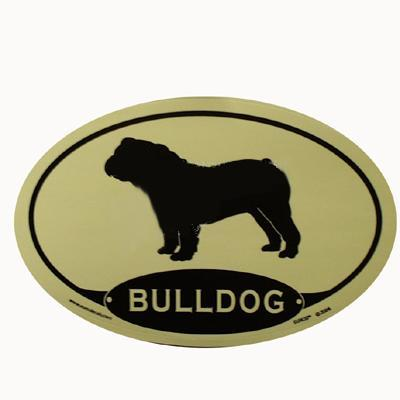 Euro Style Oval Dog Decal Bulldog