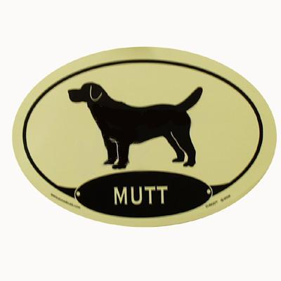 Euro Style Oval Dog Decal Mutt