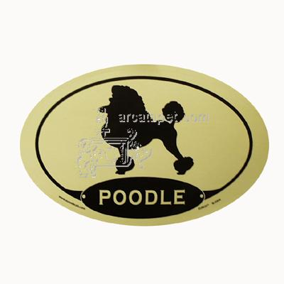 Euro Style Oval Dog Decal Poodle