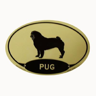 Euro Style Oval Dog Decal Pug