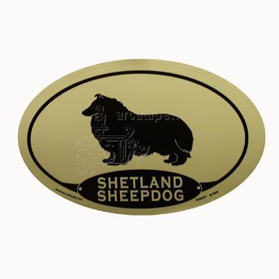 Euro Style Oval Dog Decal Shetland Sheepdog
