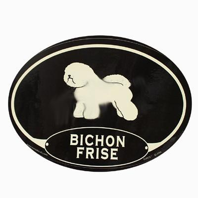Euro Style Oval Dog Decal Bichon Frise
