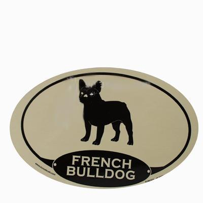 Euro Style Oval Dog Decal French Bulldog