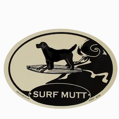 Euro Style Oval Dog Decal Surf Mutt