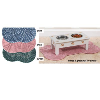 Bone Shaped Dog Place Mat Green