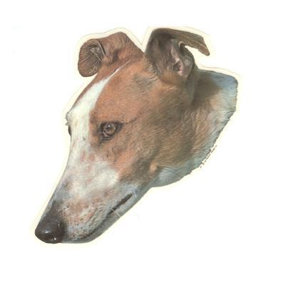 Double Sided Dog Decal Greyhound Tan and White Face