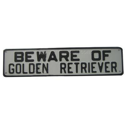 Sign Beware of Golden Retriever 12 x 3 inch Aluminum