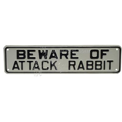 Sign Beware of Attack Rabbit 12 x 3 inch Plastic