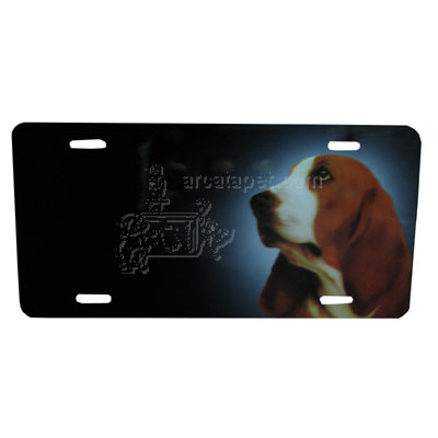 Aluminum Dog Breed License Plate with Basset Hound