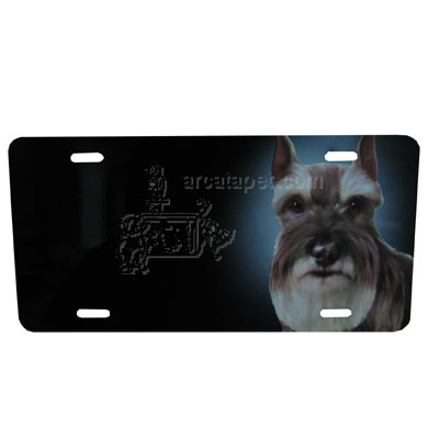 Aluminum Dog Breed License Plate with Schnauzer
