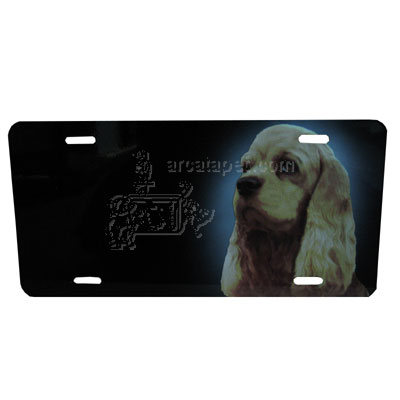 Aluminum Dog Breed License Plate with Cocker Spaniel