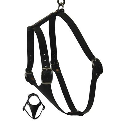 Black Tracking Leather Dog Harness 1 x 38 inches