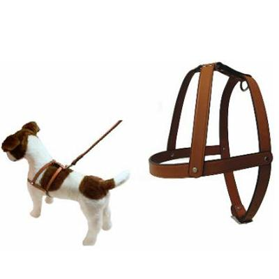 Tan Leather Dog Harness 1 x 34 inch