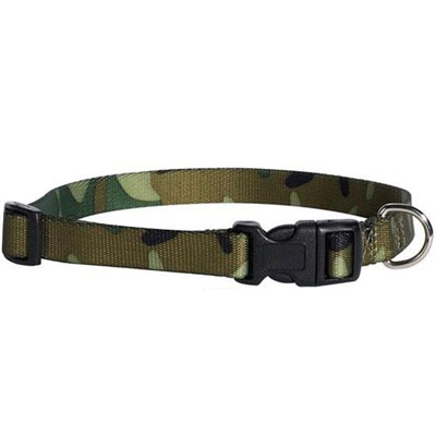 Green Camouflage Dog Collar Adjustable 10-16 inch