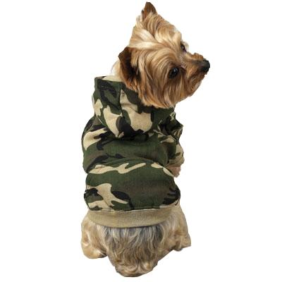 Green Camouflage Hoodie Dog Jacket Xsmall