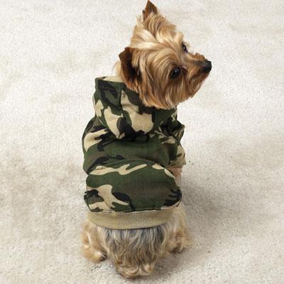 Green Camouflage Hoodie Dog Jacket Medium