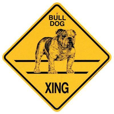 Xing Sign Bulldog Plastic 10.5 x 10.5 inches
