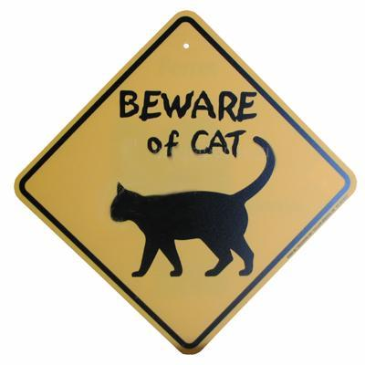 Sign Beware of Cat Yellow Diamond 10.5 x 10.5 inch Plastic