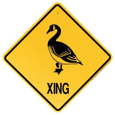 Plastic Yellow Sign Goose Crossing (XING)