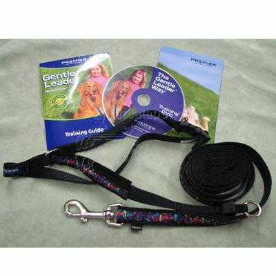 Gentle Leader Deluxe Headcollar Large Bones on Squares Black