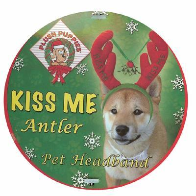 Kiss Me Holiday Antlers Dog Headband