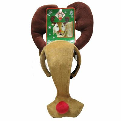 Holiday Dog Headband Red Nose Deer