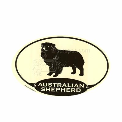 Euro Style Oval Dog Decal Australian Shepherd