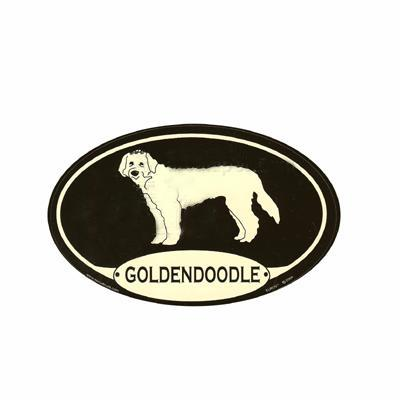 Euro Style Oval Dog Decal Goldendoodle