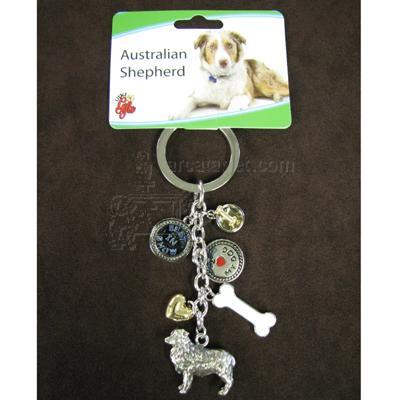 Key Chain Australian Shepherd with 5 Charms