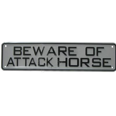 Sign Beware of Attack Horse 12 x 3 inch Plastic