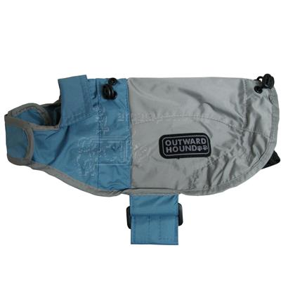 Outward Hound Dog RainCoat Ice Blue and Elephant Grey XSmall