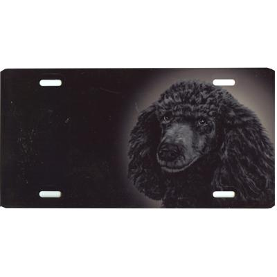 Aluminum Dog Breed License Plate with Black Poodle