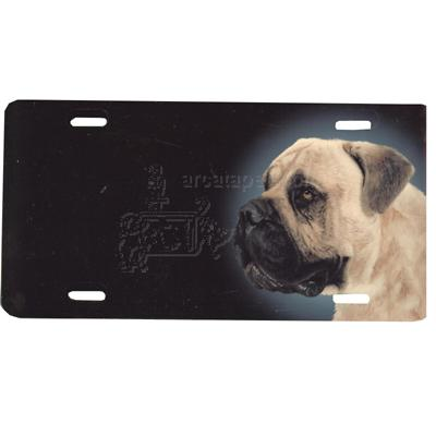 Aluminum Dog Breed License Plate with Bull Mastiff