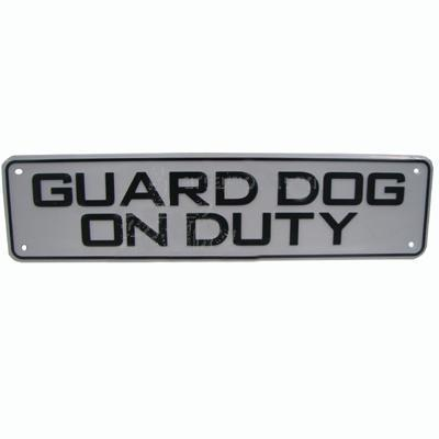 Sign Plastic Guard Dog on Duty 12 x 3 inch