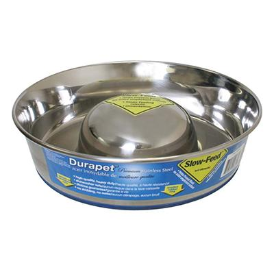 Stainless Slow Feed Dog Bowl Med