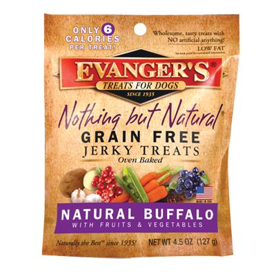 Evangers Nothing But Natural Buffalo Jerky 4.5 oz Dog Treat