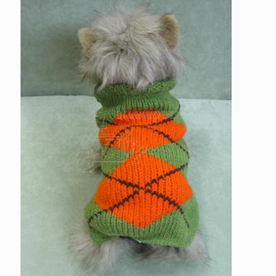 Handmade Dog Sweater Wool Green Argyle Xlarge