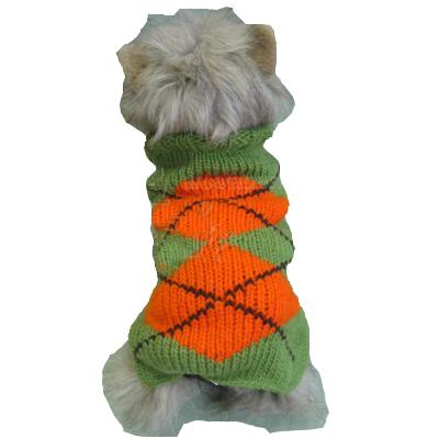 Handmade Dog Sweater Wool Argyle Green XXSmall